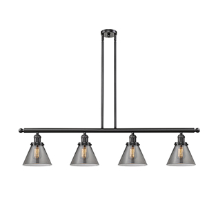 Large Cone Oiled Rubbed Bronze Four-Light LED Island Pendant with Smoked Cone Glass