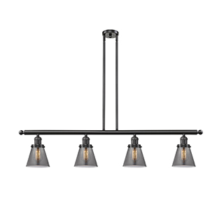 Small Cone Oiled Rubbed Bronze Four-Light LED Island Pendant with Smoked Cone Glass