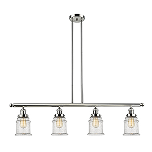 Canton Polished Nickel Four-Light LED Island Pendant with Seedy Bell Glass