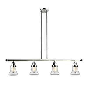 Bellmont Polished Nickel Four-Light LED Island Pendant with Clear Hourglass Glass