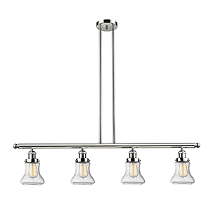 Bellmont Polished Nickel Four-Light LED Island Pendant with Seedy Hourglass Glass