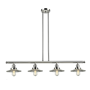 Halophane Polished Nickel Four-Light LED Island Pendant with Halophane Cone Glass