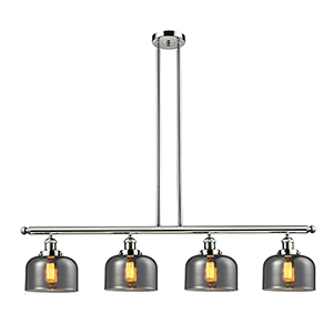 Large Bell Polished Nickel Four-Light LED Island Pendant with Smoked Dome Glass