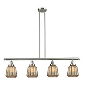 Chatham Brushed Satin Nickel Four-Light LED Island Pendant with Mercury Fluted Novelty Glass