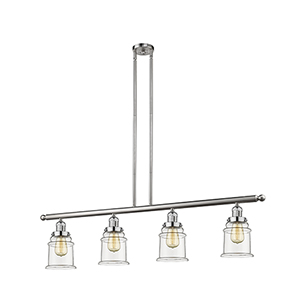 Canton Brushed Satin Nickel Four-Light Island Pendant with Clear Bell Glass