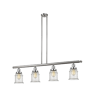 Canton Brushed Satin Nickel Four-Light Island Pendant with Seedy Bell Glass