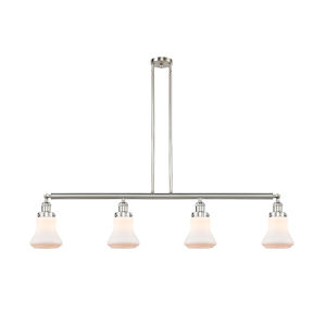 Franklin Restoration Brushed Satin Nickel 51-Inch Four-Light LED Island Chandelier with Matte White Bellmont Shade and Wire
