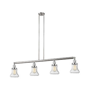 Bellmont Brushed Satin Nickel Four-Light LED Island Pendant with Seedy Hourglass Glass