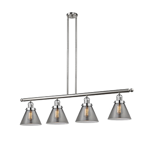 Large Cone Brushed Satin Nickel Four-Light LED Island Pendant with Smoked Cone Glass