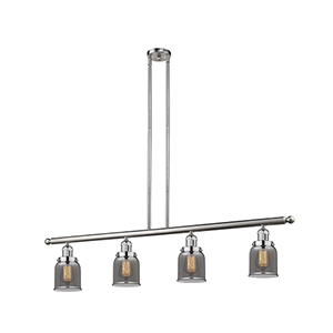 Small Bell Brushed Satin Nickel Four-Light LED Island Pendant with Smoked Bell Glass