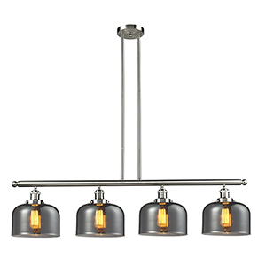 Large Bell Brushed Satin Nickel Four-Light Island Pendant with Smoked Dome Glass
