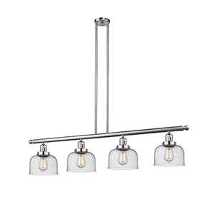 Large Bell Brushed Satin Nickel Four-Light LED Island Pendant with Seedy Dome Glass