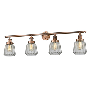 Chatham Antique Copper Four-Light LED Bath Vanity with Clear Fluted Novelty Glass