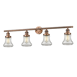 Bellmont Antique Copper Four-Light LED Bath Vanity with Clear Hourglass Glass