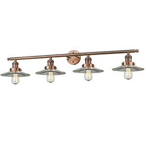 Halophane Antique Copper Four-Light Bath Vanity with Halophane Cone Glass