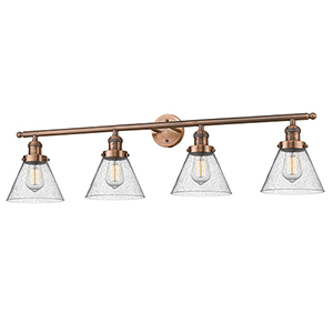 Large Cone Antique Copper Four-Light LED Bath Vanity with Seedy Cone Glass