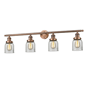 Small Bell Antique Copper Four-Light LED Bath Vanity with Clear Bell Glass