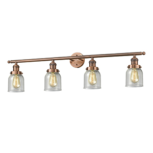 Small Bell Antique Copper Four-Light LED Bath Vanity with Seedy Bell Glass