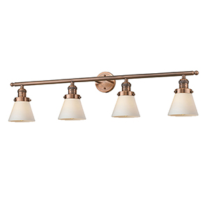Small Cone Antique Copper Four-Light LED Bath Vanity with Matte White Cased Cone Glass