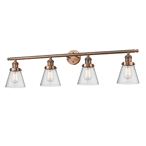 Small Cone Antique Copper Four-Light Bath Vanity with Seedy Cone Glass