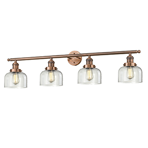 Large Bell Antique Copper Four-Light Bath Vanity with Clear Dome Glass