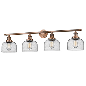 Large Bell Antique Copper Four-Light Bath Vanity with Seedy Dome Glass