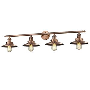 Railroad Antique Copper Four-Light LED Bath Vanity
