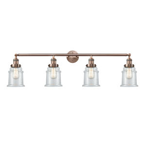 Canton Antique Copper Four-Light LED Bath Vanity with Clear Glass