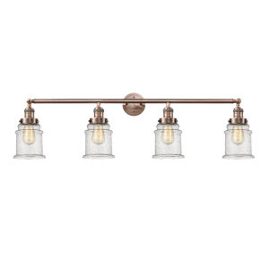 Canton Antique Copper Four-Light LED Bath Vanity with Seedy Glass
