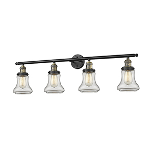 Bellmont Black Antique Brass Four-Light LED Bath Vanity with Clear Hourglass Glass
