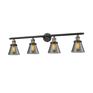 Small Cone Black Antique Brass Four-Light LED Bath Vanity with Smoked Cone Glass