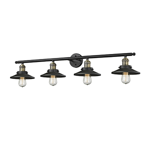Railroad Black Antique Brass Four-Light LED Bath Vanity with Matte Black Metal Shade