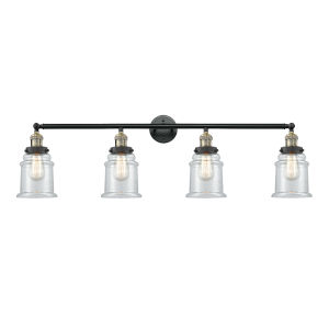 Canton Black Antique Brass Four-Light Bath Vanity with Clear Glass