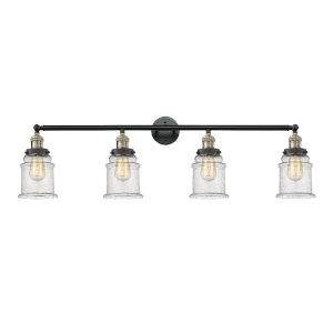 Canton Black Antique Brass Four-Light LED Bath Vanity with Seedy Glass