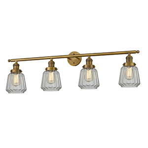 Chatham Brushed Brass Four-Light LED Bath Vanity with Clear Fluted Novelty Glass
