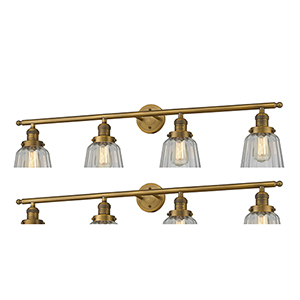 Chatham Brushed Brass Four-Light Bath Vanity with Clear Fluted Novelty Glass