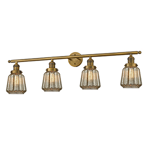 Chatham Brushed Brass Four-Light Bath Vanity with Mercury Fluted Novelty Glass