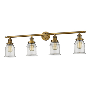 Canton Brushed Brass Four-Light LED Bath Vanity with Clear Bell Glass
