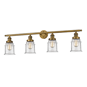 Canton Brushed Brass Four-Light LED Bath Vanity with Seedy Bell Glass