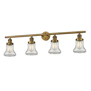 Bellmont Brushed Brass Four-Light LED Bath Vanity with Clear Hourglass Glass