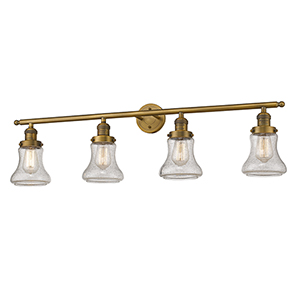 Bellmont Brushed Brass Four-Light LED Bath Vanity with Seedy Hourglass Glass
