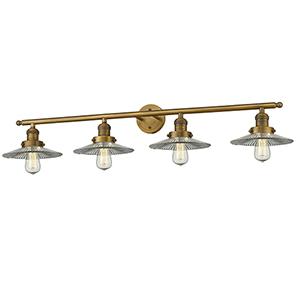 Halophane Brushed Brass Four-Light LED Bath Vanity with Halophane Cone Glass