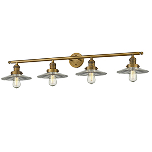 Halophane Brushed Brass Four-Light Bath Vanity with Halophane Cone Glass