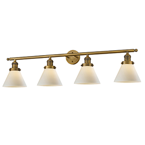 Large Cone Brushed Brass Four-Light LED Bath Vanity with Matte White Cased Cone Glass