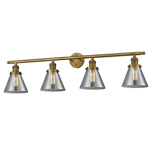 Large Cone Brushed Brass Four-Light Bath Vanity with Smoked Cone Glass