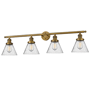 Large Cone Brushed Brass Four-Light LED Bath Vanity with Seedy Cone Glass