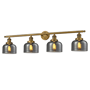 Large Bell Brushed Brass Four-Light Bath Vanity with Smoked Dome Glass