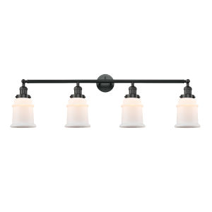 Franklin Restoration Matte Black 11-Inch Four-Light LED Bath Vanity with Matte White Canton Shade