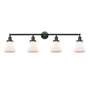 Franklin Restoration Matte Black 42-Inch Four-Light LED Bath Vanity with Matte White Bellmont Shade
