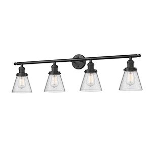 Small Cone Oiled Rubbed Bronze Four-Light LED Bath Vanity with Seedy Cone Glass